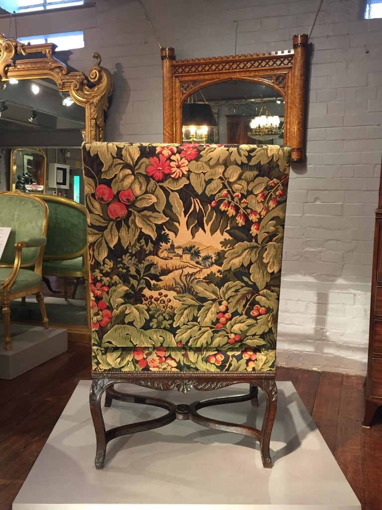 Mid-18th Century 18th Century French Oak and Upholstered High Back Open Armchair For Sale