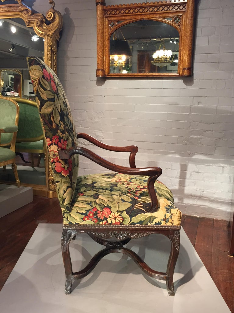 18th Century French Oak and Upholstered High Back Open Armchair For Sale 1