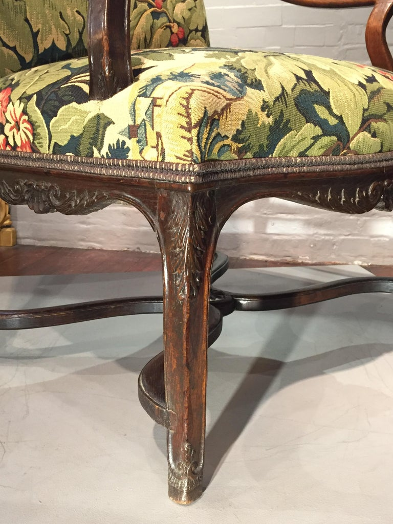 18th Century French Oak and Upholstered High Back Open Armchair For Sale 2