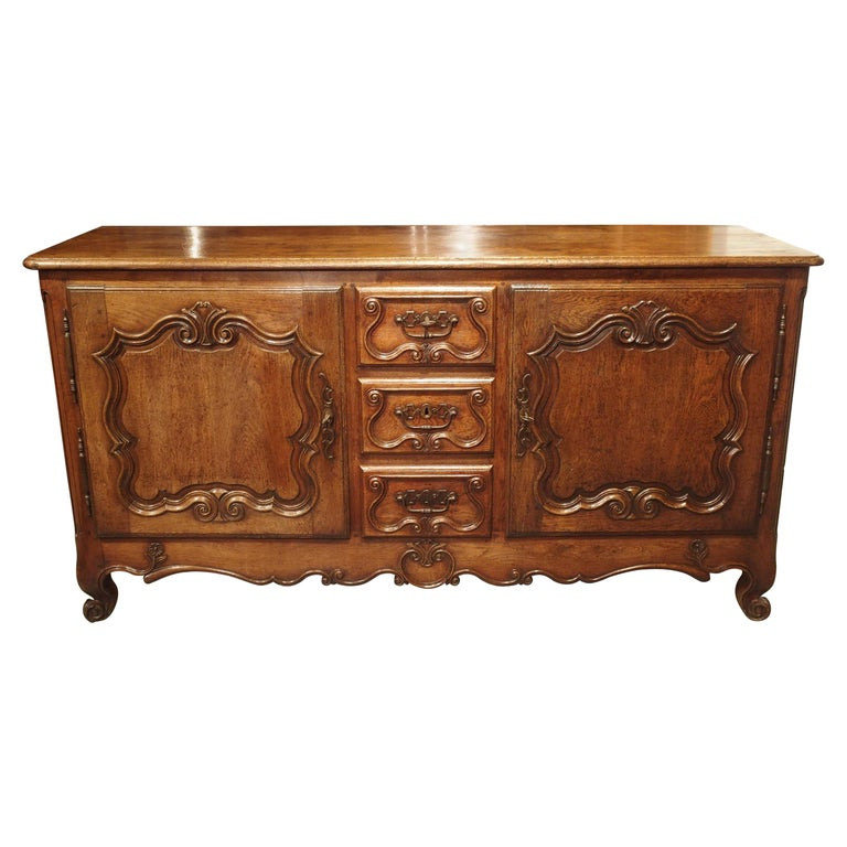 18th Century French Oak Buffet with Center Drawers from Lorraine For Sale
