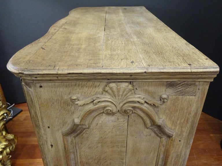 18th FrenchProvencal  Chest of Drawers Oak Carved Wood and Brass , 1790 For Sale 5