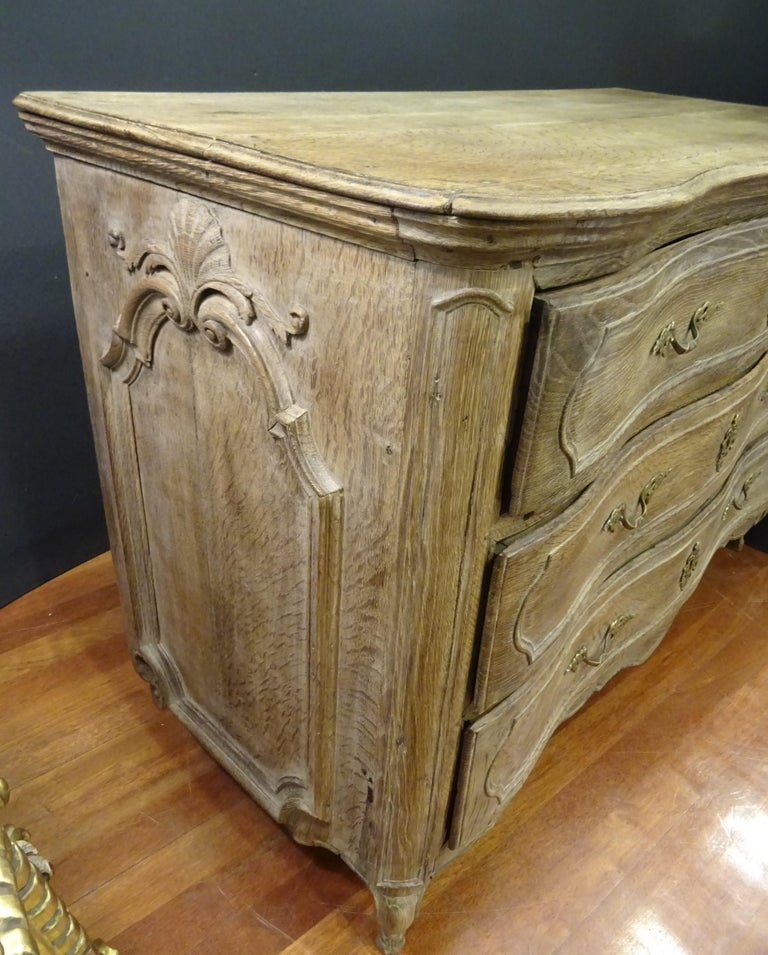 18th FrenchProvencal  Chest of Drawers Oak Carved Wood and Brass , 1790 For Sale 7