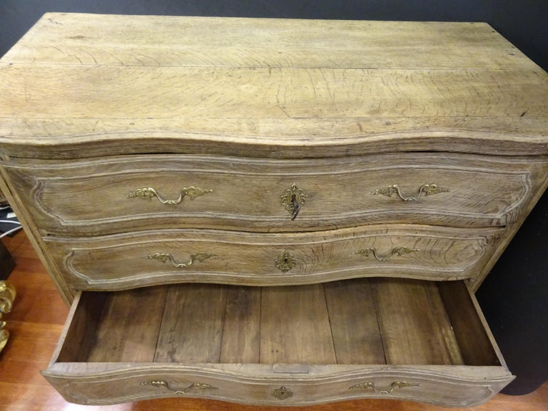 18th FrenchProvencal  Chest of Drawers Oak Carved Wood and Brass , 1790 For Sale 9