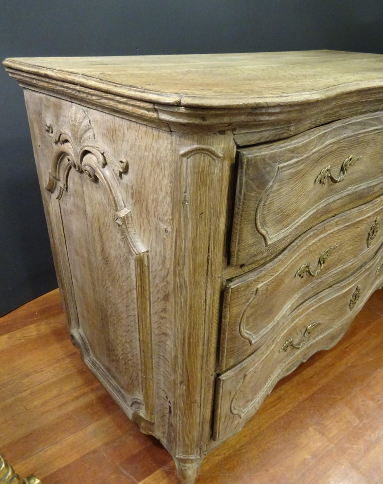 18th FrenchProvencal  Chest of Drawers Oak Carved Wood and Brass , 1790 For Sale 11