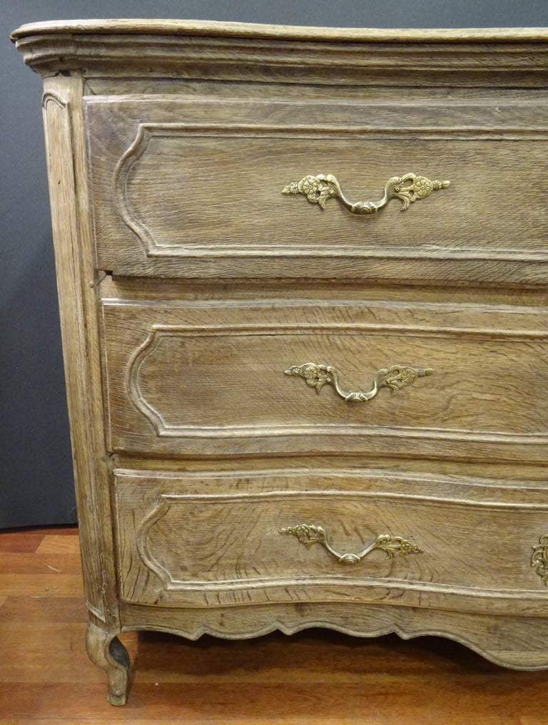 Hand-Crafted 18th FrenchProvencal  Chest of Drawers Oak Carved Wood and Brass , 1790 For Sale