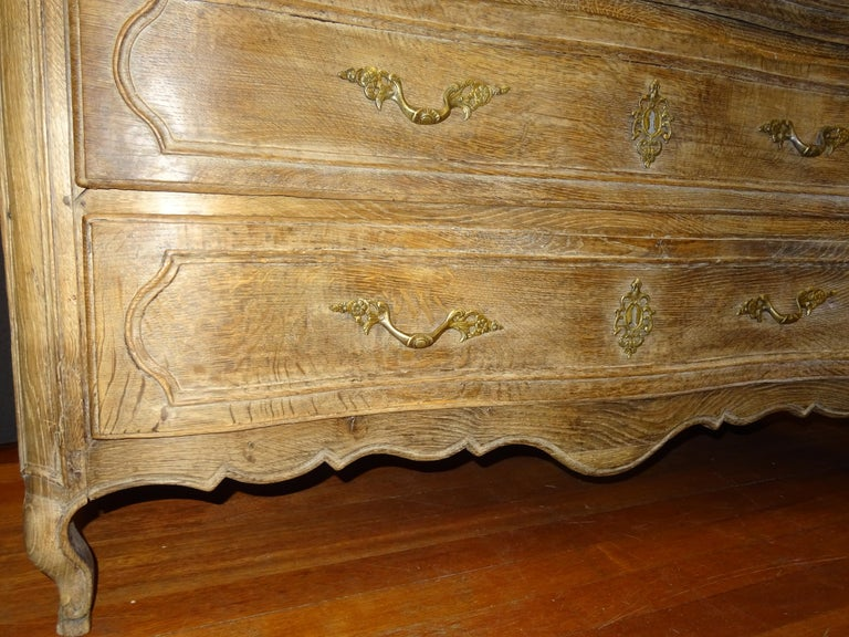 Late 18th Century 18th FrenchProvencal  Chest of Drawers Oak Carved Wood and Brass , 1790 For Sale