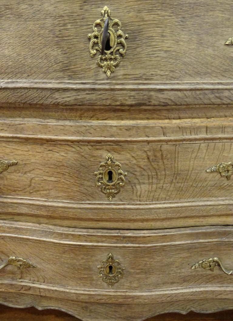 18th FrenchProvencal  Chest of Drawers Oak Carved Wood and Brass , 1790 For Sale 1
