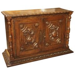 18th Century French Oak Hunt Buffet with Game Bird and Fish Panels