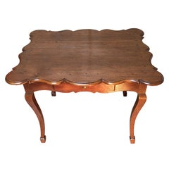 18th Century  Louis XV French Oak Writing Table with Scalloped Shaped Top
