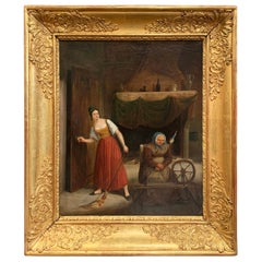 18th Century French Oil on Canvas Painting in Carved Giltwood Frame