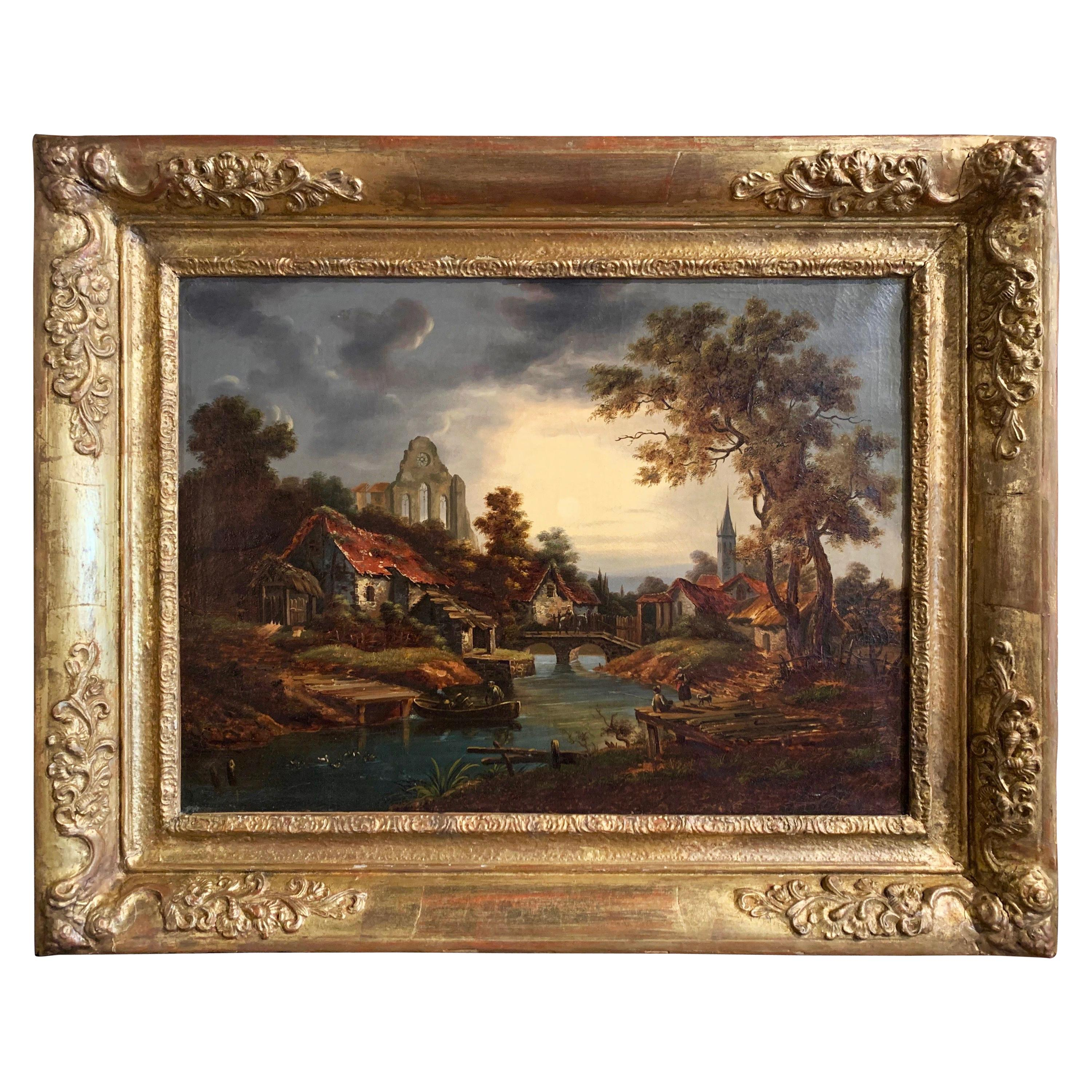 18th Century French Oil on Canvas Village Painting in Carved Gilt Frame
