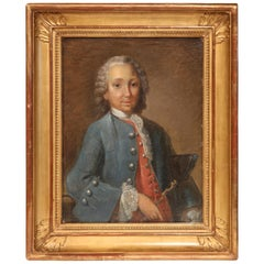 18th Century French Oil Painting of the Marquis de Rochambeau in Gilt Frame