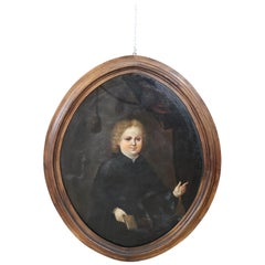 18th Century French Oil Painting on Canvas Portrait of Child with Oval Frame