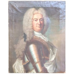 18th Century French Oil Painting Portrait of a Noble Man with Armor