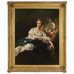 18th Century French Oil Painting Portrait of a Woman and Child Holding a Torch