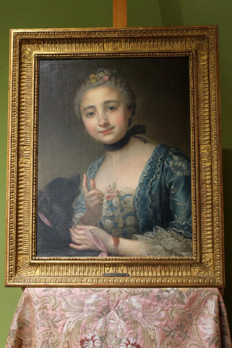 18th Century French Old Master Painting Young Lady Oil on Canvas Portrait, 1760 For Sale 5