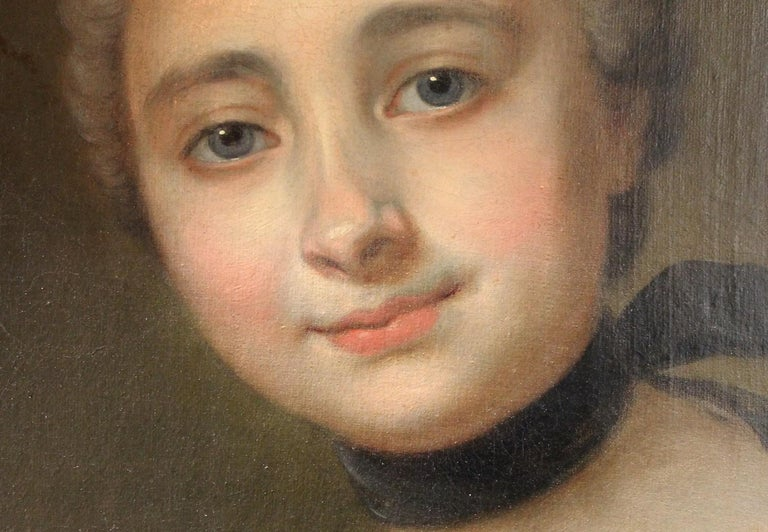 18th Century French Old Master Painting Young Lady Oil on Canvas Portrait, 1760 For Sale 11