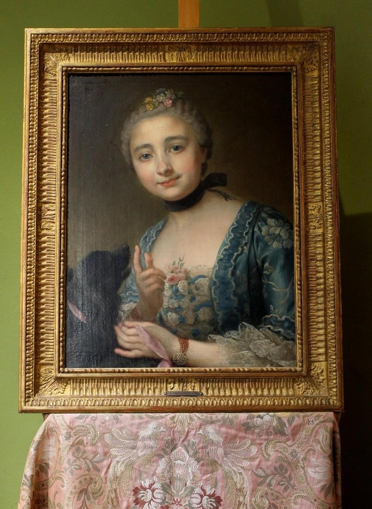 Wonderful French Old Master oil on canvas painting portrait of a lady with her dog by Donatien Nonnotte signed and dated 1760.