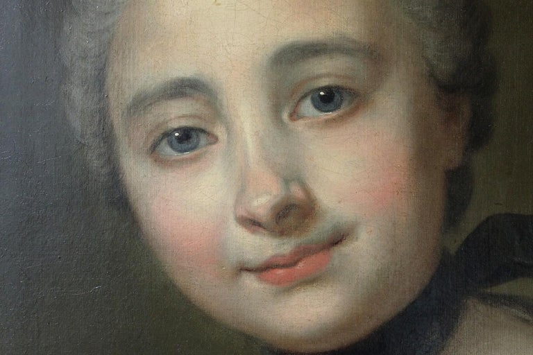 18th Century and Earlier 18th Century French Old Master Painting Young Lady Oil on Canvas Portrait, 1760 For Sale
