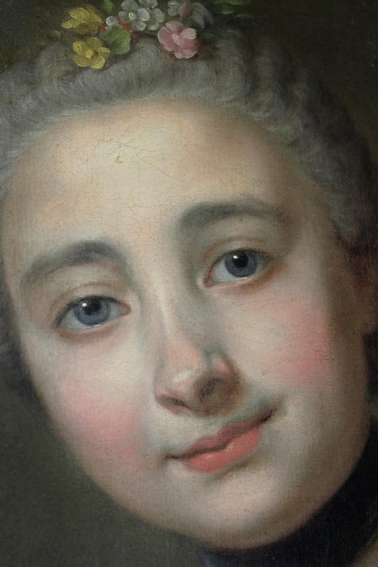 18th Century French Old Master Painting Young Lady Oil on Canvas Portrait, 1760 For Sale 1