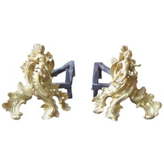 18th Century French Ormolu Louis XV Andirons