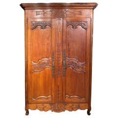 18th Century French Ornately Carved Two-Door Cherrywood Armoire