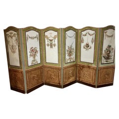 18th Century French Painted and Decoupage Screen
