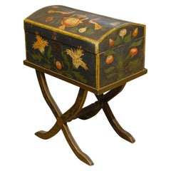 18th Century French Painted Antique Marriage Box with Stand from Normandy