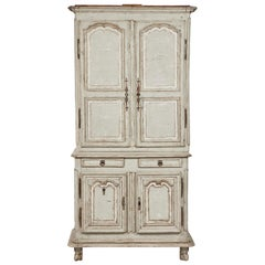 18th Century French Painted Buffet Deux Corps with Minifridge