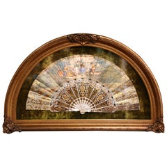 18th Century French Painted Paper and Mother of Pearl Fan in Carved Gilt Frame