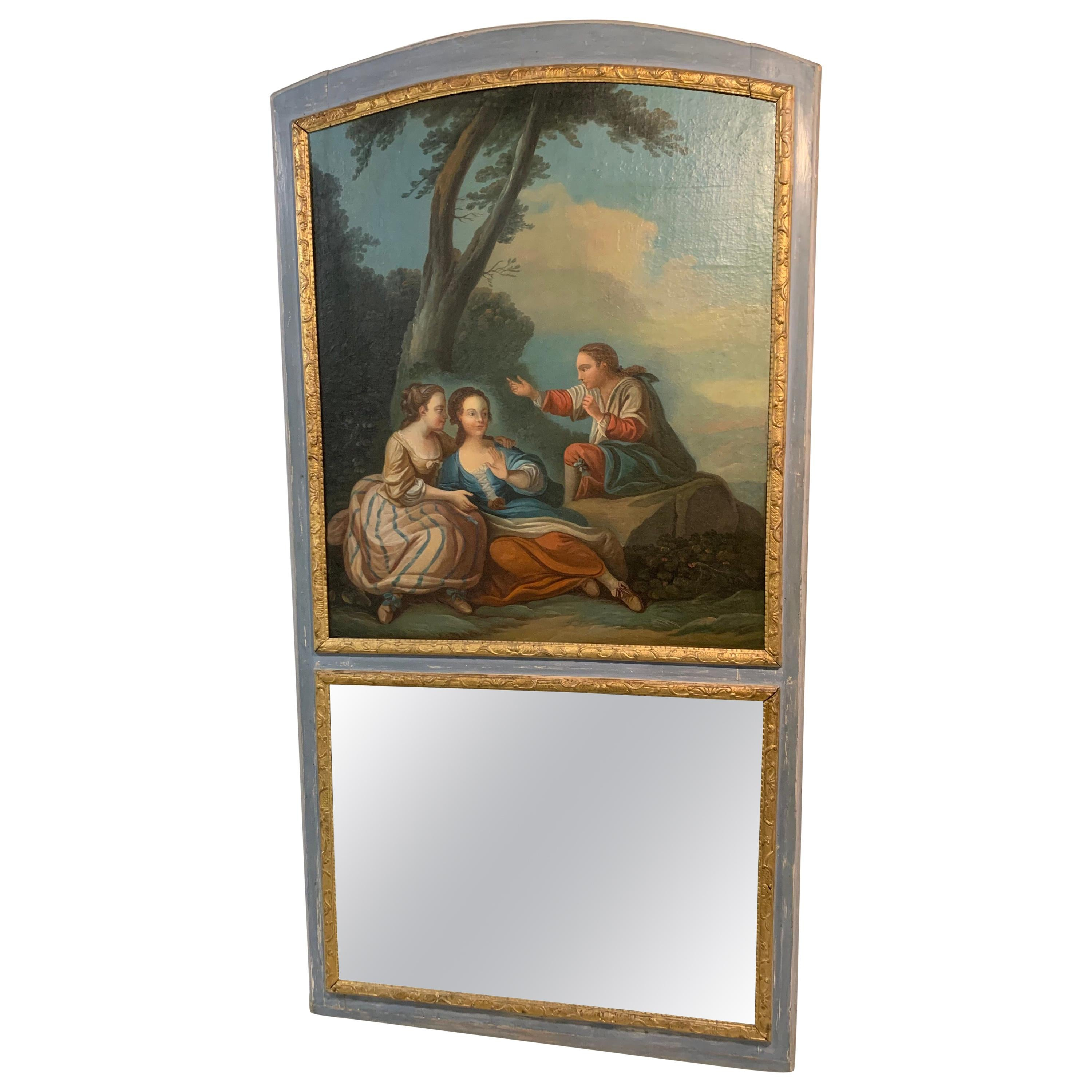 18th Century French Painted Trumeau Mirror