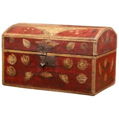 18th Century French Painted Wedding Trunk Box with Floral Motifs from Normandy