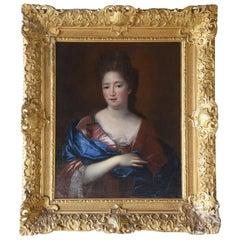 18th Century French Painting Portrait of a Noblewoman Francoise De Troi, 1700s