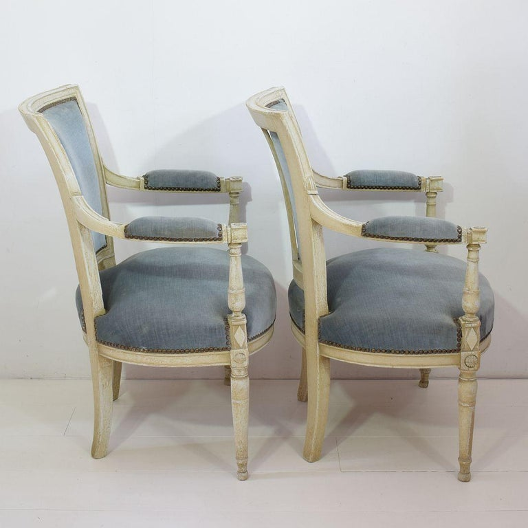 18th Century French Pair of Directoire Chairs In Fair Condition In Amsterdam, NL