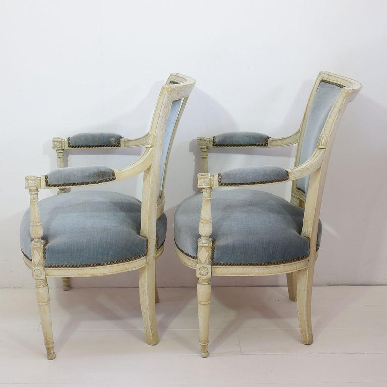 Wood 18th Century French Pair of Directoire Chairs