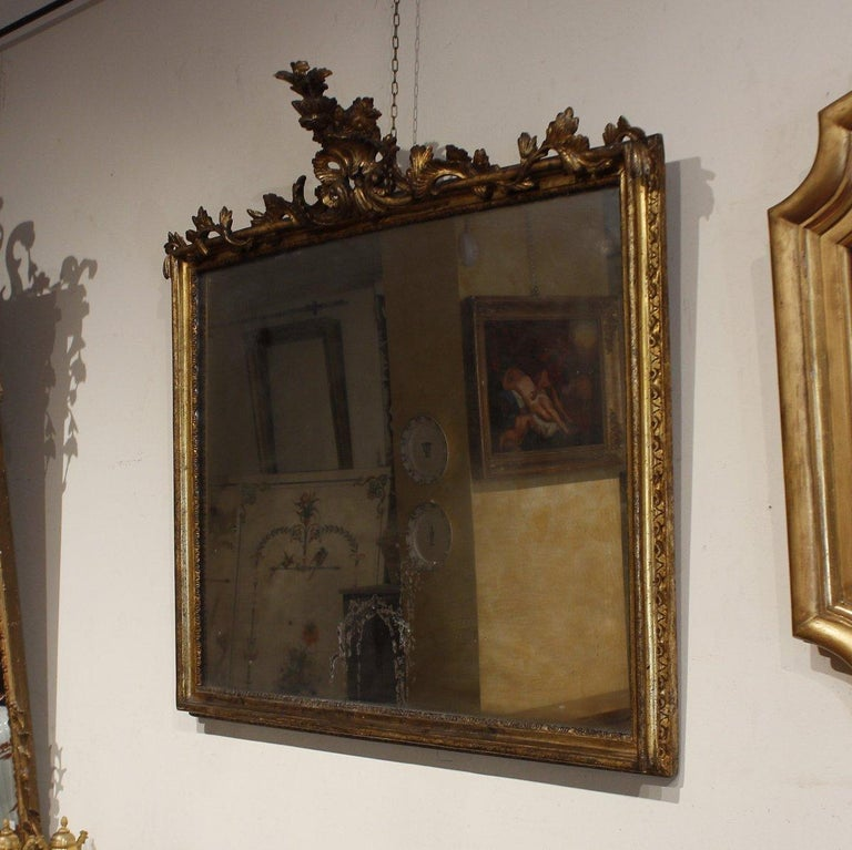 Gilt 18th Century French Pair of Louis XV Mirrors For Sale