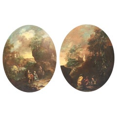 18th Century French Pair of Oval Paintings depicting Landscapes with Figures