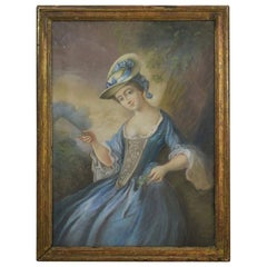 18th Century French Pastel Portrait of a Young Woman