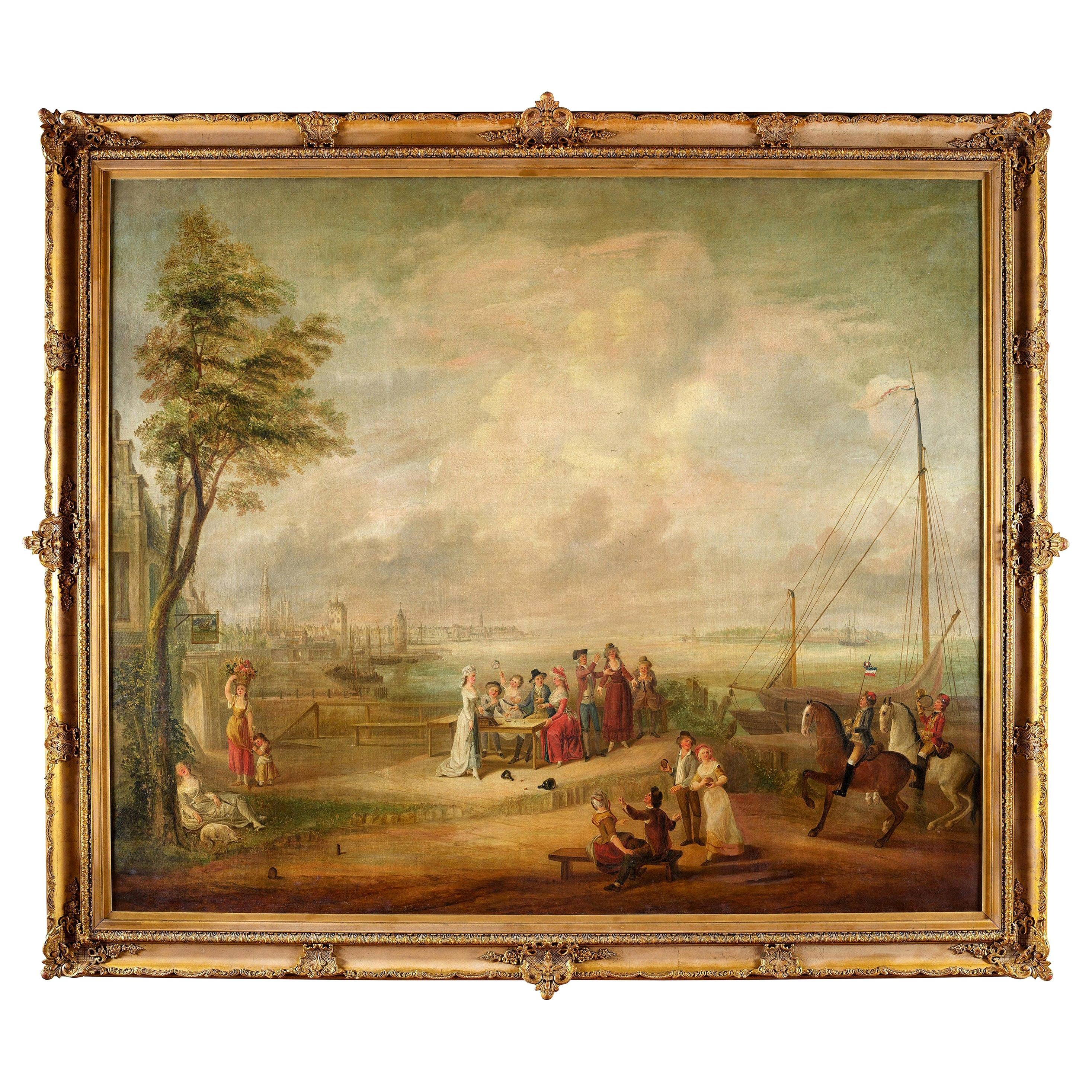 18th Century French Pastoral and Harbor Scene Oil Painting in Ornate Gilt Frame