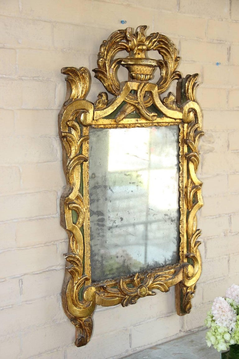 18th Century French Period Louis XVI Giltwood Mirror with Original Mirror Plate For Sale 5