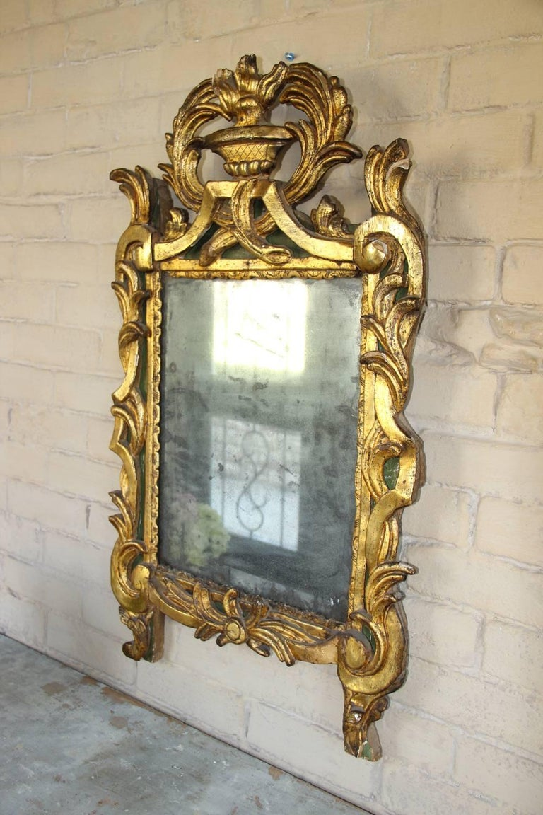 18th Century French Period Louis XVI Giltwood Mirror with Original Mirror Plate For Sale 4