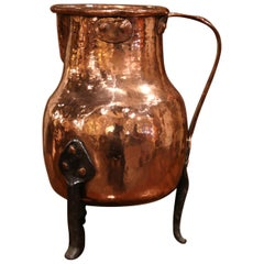18th Century French Polished Copper and Forged Iron Hot Water Pitcher