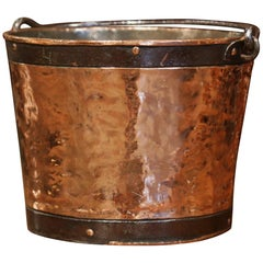18th Century French Polished Copper and Iron Measure Bucket