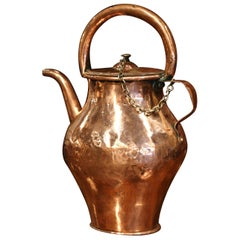 18th Century French Polished Copper Hot Water Pitcher
