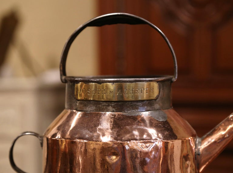 Hand-Crafted 18th Century French Polished Copper and Iron Watering Can For Sale