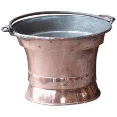 18th Century French Polished Copper Log Holder or Log Basket