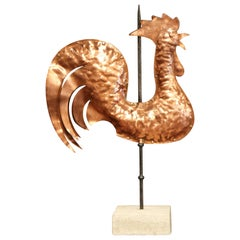 18th Century French Polished Copper Rooster Weather Vane on Sandstone Stand