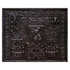 18th Century French Polished Iron Fireback with Coat of Arms and Fleur de Lys
