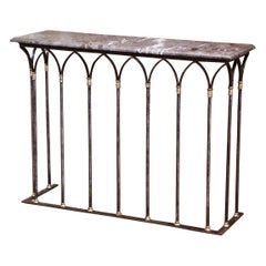 18th Century French Polished Wrought Iron & Bronze Console Table with Marble Top