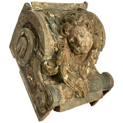 18th Century French Polychrome Angel from Top of a Column